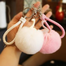 Artificial Chains Wholesalers Australia - 8CM 13 Colors Fluffy Rabbit Fur Ball Key Chain Cute Cream Black Pompom Artificial Rabbit Fur Keychain Women Car Bag Key Ring