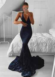 $enCountryForm.capitalKeyWord Australia - Dark Navy Prom Dresses Long 2019 Black Girls Sexy V-Neck Mermaid Formal Evening Gowns Cheap Sequin Cocktail Party Ball Dress Special Gown