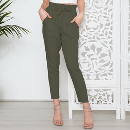 $enCountryForm.capitalKeyWord Australia - 2019 Hot Office Work Pants Women Fashion Slim Red Black Khaki Trousers New Fashion Joker High Waist Nine Pants Belt Sundress MX190806