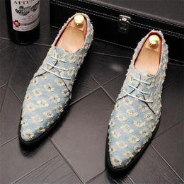 $enCountryForm.capitalKeyWord Australia - Men's Business Shoes Fashion Men denim Hole Leather Fashion Man Dinner Party Shoe Casual Pointed Toe Lace Shoe Male Suit Shoes