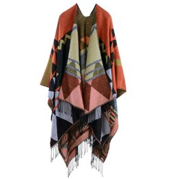$enCountryForm.capitalKeyWord Australia - Brand Women Scarf Knitted Shawl Poncho Faux Cashmere Geometric Pattern Tassel Oversized Long Bohemia Cape Bufandas Mujer 2019