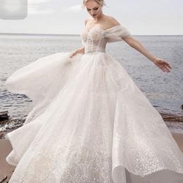 Discount line wedding dresses straps bling - Sparkly A Line Wedding Dresses Beach Ceremony Off Shoulder Floor Length Bohemian Boho Charming Bling Sequin Bridal Gowns