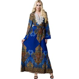 flare womens dress Australia - 4XL 5XL 6XL 7XL Plus Size Womens Clothing Bohemian Long Dress Flare Sleeve Casual Beach Dress Muslim Robe Islamic Arabia Abaya