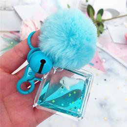 $enCountryForm.capitalKeyWord Australia - Fashion Car Keychain Creative Sea Lions Starry Liquid Crystal Quicksand Sequin Key Ring Bag Pendant for Women Bag Key Chain