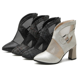 $enCountryForm.capitalKeyWord Australia - Code Net Quarterly Yarn Baotou Cool Woman Sandals High-heeled Coarse With Short Boots Hollow Out Will Honor2019 Women's Shoes