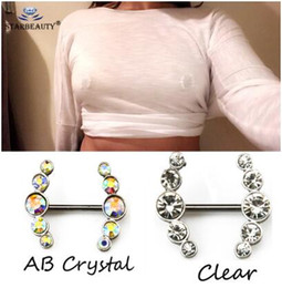 Wholesale 2Pcs Sexy Clear Colorful Crystal Love Dangle Nipple Piercing Shields Bars Nipple Piercing for Women Body Piercing