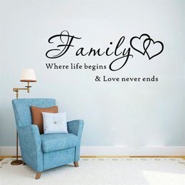 wall sticker letters for nursery Canada - Letter Family Wallpaper Wall Stickers Family Where Life Beging Love Never Ends Removable Art Vinyl Mural Home Room Decor