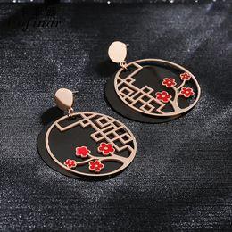 $enCountryForm.capitalKeyWord Australia - Female temperament short earrings hollow flower tree circle Chinese style wild fashion retro circle earrings female