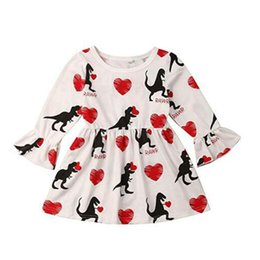 99faf8ae71c Valentine s Day Baby girls Flare Sleeve dress Children Love Heart dinosaur  print princess dresses 2019 Autumn Boutique Kids Clothing C5843