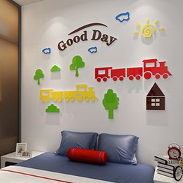 $enCountryForm.capitalKeyWord Australia - New arrival Creative cute Cartoon train Acrylic mirror wall stickers For kids room Small train pattern decoration Home art wall 3d decor