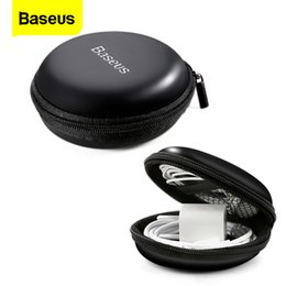 headphones ear pads Canada - Portable Audio & Video Accessories Baseus Earphone Headphone Storage Mini Bag Hard Box Portable For Earphone Ear Pads USB Cable Charger
