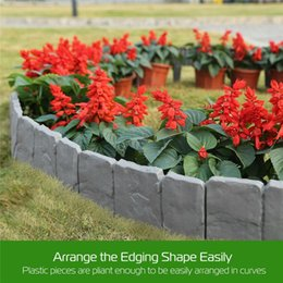 flower garden edging NZ - 20Pcs Grey Garden Fence Edging Cobbled Stone Effect Plastic Lawn Edging Plant Border Decorations Flower Bed Border