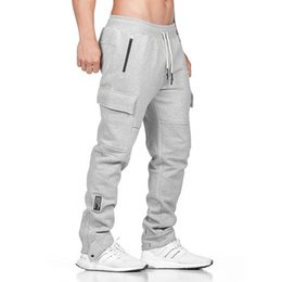 asian cotton pants Canada - New Fashion Mens Joggers Pants Elastic Waist Loose Cotton Sweatpants Male Casual Long Trousers with 2 Colors Asian Size