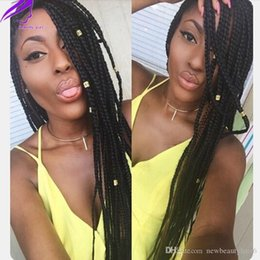 natural braid styles UK - G Africa Women Style Micro Braided Lace Front Wig Dark Brown Color Box Braid Wig Synthetic Braided Wigs Free Part With Baby Hair