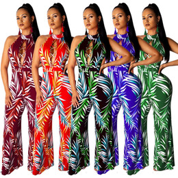 Green Jumpsuit Black Woman Australia - Women Floral Wide Leg Jumpsuits Jumpsuits Sexy Halter Cut Out Strappy Sleeveless Long Casual Jumpsuit Green Blue Red Black Burgundy