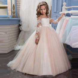 $enCountryForm.capitalKeyWord Australia - 2019 Long Sleeves Lace A Line Flower Girl Dresses Vintage Tulle Lace Applique Floor Length Gilrs ' Pageant Party Dresses Real Image