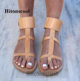 T-Riemen Ring Toe Buckle Strap Casual Style Frauen Gladiator Sandalen Gold Silber Schwarz Braun Leder Rom Lady Ankle Cuff Flats