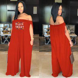 43b94ec69683 Women Black Smart Letter Print Jumpsuit Spring Summer 2019 Off Shoulder  Rompers Long Pants Jumpsuits loose wide leg pant Plus size hot B2141