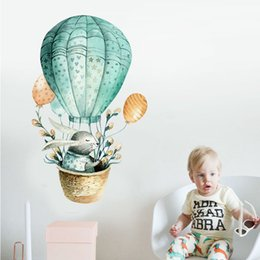 hot air balloon wall UK - Cartoon Wall Sticker Kids Room Decoration Rabbit Hot Air Balloon Home Decor Nordic Style Watercolor Painting Baby Room Diy Art Q190426