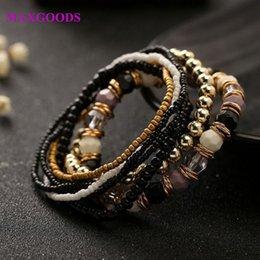 Beaded multi strand Bracelet online shopping - 7 Set Four Seasons Bohemian Multi layer Beaded Jewelry and Women Elastic Bracelet New