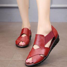 $enCountryForm.capitalKeyWord NZ - Hot Sale-Brand 2019 Summer Gladiator Rome Casual Sandals Women Shoes Sandalia Feminina Genuine Leather Wedge Heel Comfort Sandals m936