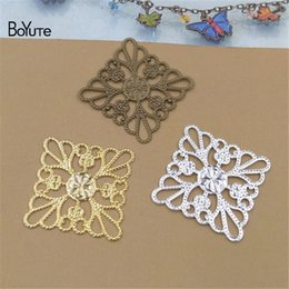 $enCountryForm.capitalKeyWord Australia - BoYuTe (100 Pieces Lot) Metal Brass Stamping 25MM Square Flower Filigree Findings Diy Handmade Jewelry Accessories