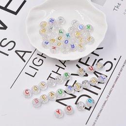 10*10mm DIY Bracelet Necklace Accessories Letter Beads Single Alphabet A-Z White Square Bracelet Jewelry Making Beads on Sale