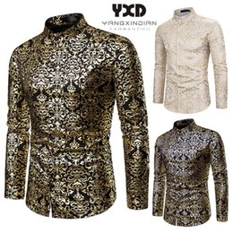 wedding dress shirts for men NZ - Wedding Party Dress Mens Slim Fit Long Sleeve Shirt Fashion Night Club Luxury Gold Bronzing Printed Shirts For Men Free Shipping