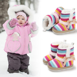 rainbow boots shoes NZ - Snow Boots For Baby Girls Winter Warm Rainbow Soft Sole Snow Boots New Toddler Winter Princess Child Shoes
