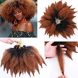 $enCountryForm.capitalKeyWord Australia - 8 Inch Ombre Marley Braids Hair Afro Kinky Curly Marley Curl Twist Braid Hair Extensions Kanekalon Synthetic Twist Crochet Hair