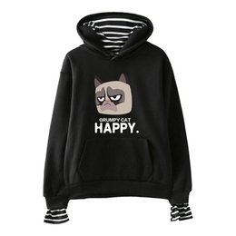 $enCountryForm.capitalKeyWord NZ - 2D Grumpy Cat New Clothes hoodies Print Fake Two Pieces Hoodies 2019 Hot Sale Autumn Women Sweatshirts K-pops hooded Harajuku