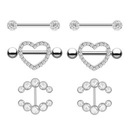 Lip barbeLL online shopping - 2pcs Fashion Barbell Nipple Ring Piercing Bar Rings Jewelry Creative Punk Body Jewellery High Quality Zircon Heart Rings Women
