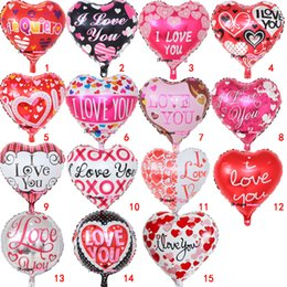 Discount i balloons - 18 Inch inflatable Valentine's Day party ballons decorations bubble Aluminum film balloon I Love You Heart balloons