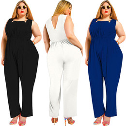 3ac0b9f02574 Plus Size 3XL 4XL 5XL Jumpsuit Women Clothing 2019 Sleeveless Sexy Party  Tunic Slim Romper Fat Loose Blue Black Macacao OverallS FP3101