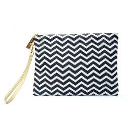Promotional Cosmetic Bags Wholesale UK - Waterproof Straw Beach Bag Promotional Multicolor Beach Straw Pouch purse High Grade Straw Reusable Women Makeup Cosmetic Case Bag