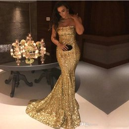 Cheap Sequined Dresses NZ - Sexy Strapless gold Mermaid Prom Dresses 2019 New Arrival Sparkly Sequined Long Formal Evening Gowns Cheap Vintage Party Wear Abendkleider