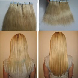 $enCountryForm.capitalKeyWord Australia - Remy Tape In Human Hair Extensions Double Drawn Hair Straight Bundles #613 Bleach Blonde virgin brazilian pu skin weft hair extensions