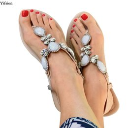 1541301ee95758 Yifsion New Women Flat With Gladiator Sandals Sexy Rhinestone Flip Flops  Sandals Open Toe Beige Beach Shoes Women US Size 5-10.5