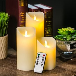 Flameless candles timer online shopping - 3pcs Remote Control LED Candle Ivory Color Pillar Candles with Timer Velas Bougie for Home Birthday Party Wedding Decoration