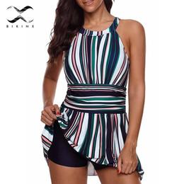 $enCountryForm.capitalKeyWord NZ - Bikinx Plus Size Swimwear Large Sexy Swimsuit With Skirt Push Up Bikinis 2019 Mujer Bathers Sexy Stripe One-piece Suits Monokini Y19072601