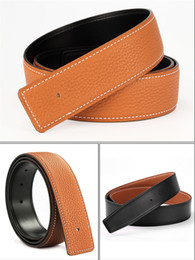 $enCountryForm.capitalKeyWord Australia - YDNK-High quality casual fashion belt for men and women 38 mm wide without buckle Lychee grain belt body with smooth inner belt