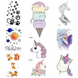 $enCountryForm.capitalKeyWord NZ - Colorful Ice Cream Cartoon Tattoo Stickers Girls Cute Unicorn Temporary Tattoo Kids Arm Gadgets Women Flash Tatoos Pow Hands Art