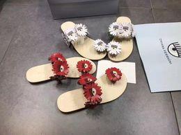 $enCountryForm.capitalKeyWord Australia - Free shipping cute eyelash genuine leather red white flower women's sandals flip flops slippers