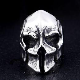 $enCountryForm.capitalKeyWord NZ - 2019 Personality Men Retro Jewelry Wholesale Punk Spartan Warriors Mask Ring Men Skull Titanium Steel Ring