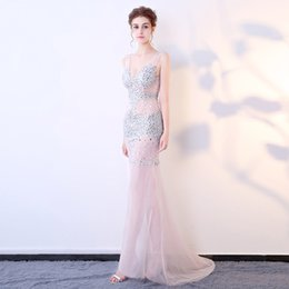 $enCountryForm.capitalKeyWord Australia - 2019 New Sexy perspective wear hand-studded deep V-neck fishtail bag hip car exhibition nightclub costume long evening dress