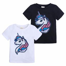 5218d8d09f64 2019 New Summer Baby Girls Unicorn T-shirts Cartoon unicorn Sequined Cotton  Short Sleeve T-shirts INS Children Tops Clothing