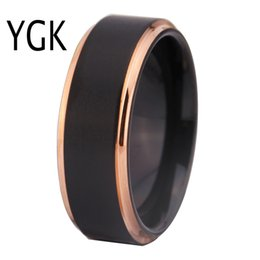 $enCountryForm.capitalKeyWord NZ - Tungsten Wedding Rings For Women Men's Classic Engagement Rings Black Matte With Rose Gold Step Tungsten Ring Comfort Fit Design J190625