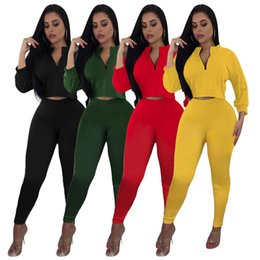 hot yoga clothes wholesale Australia - autumn women tracksuit hoodie outfits 2 piece set sportswear sexy crop top pant pullover legging trousers fall new hot sale clothing klw2082