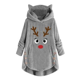 christmas shirts women s Canada - Christmas Deer Embroidery T Shirt Women Plus Size Fleece Pullover Casual Tops Button Long Sleeve Female T-Shirts Women Clothes Y200111