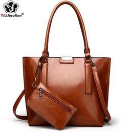 $enCountryForm.capitalKeyWord Australia - High Quality Oil Wax Leather Handbag Sets for Women Large Capacity Handbag Casual Tote Bag Luxury Handbags Women Bags Designer